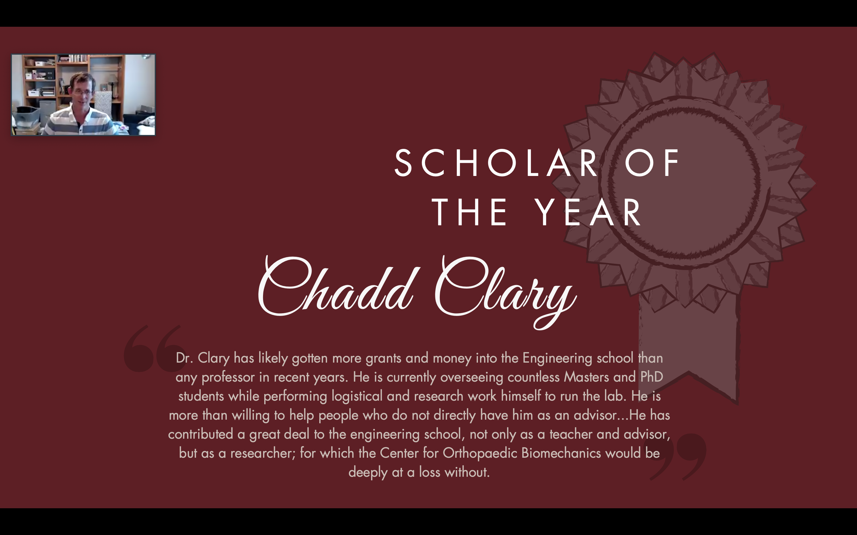 Scholar of the Year - Chadd Clary